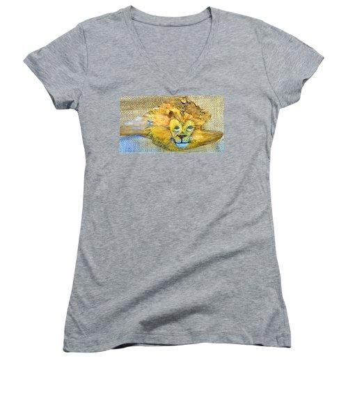 Lion Women's V-Neck T-Shirt (Junior Cut) by Ann Michelle Swadener