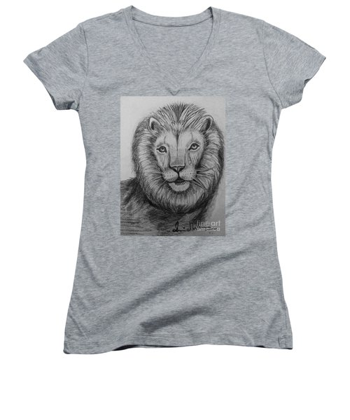 Women's V-Neck T-Shirt (Junior Cut) featuring the painting Lion by Brindha Naveen