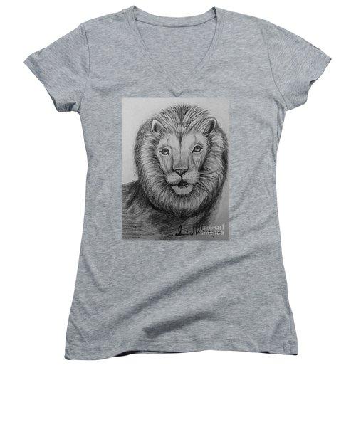 Lion Women's V-Neck T-Shirt (Junior Cut) by Brindha Naveen