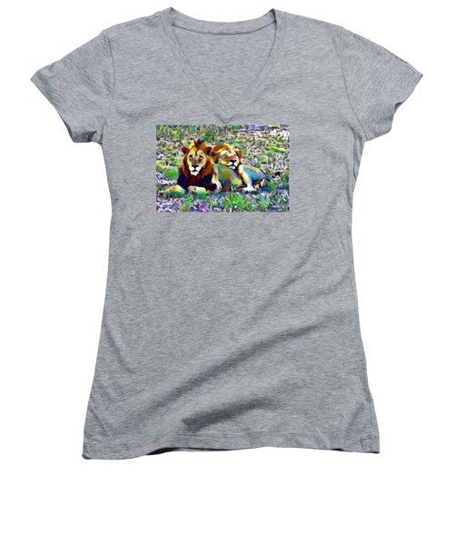 Lion Buddies Women's V-Neck (Athletic Fit)