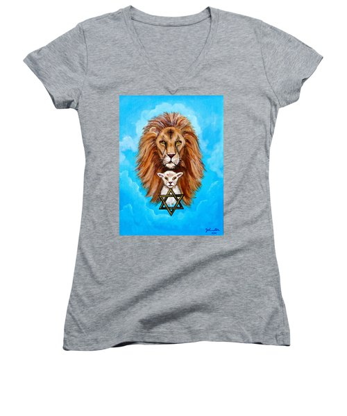 Women's V-Neck T-Shirt (Junior Cut) featuring the painting Lion Lies Down With A Lamb by Bob and Nadine Johnston