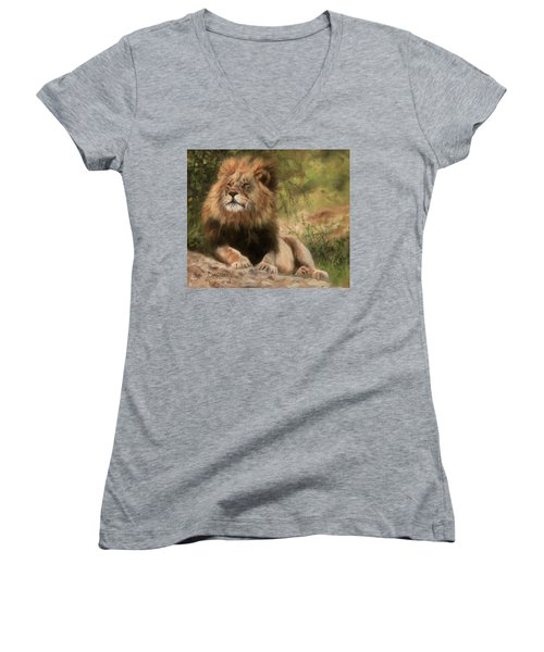 Women's V-Neck T-Shirt (Junior Cut) featuring the painting Lion Resting by David Stribbling