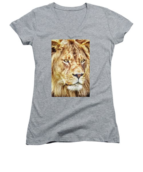 Lion-the King Of The Jungle Large Canvas Art, Canvas Print, Large Art, Large Wall Decor, Home Decor Women's V-Neck T-Shirt