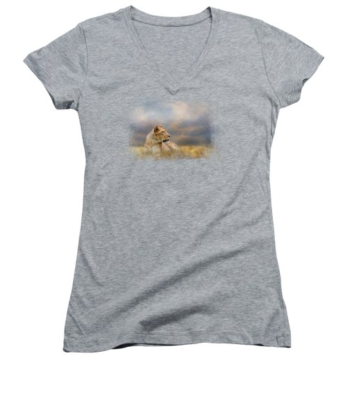 Lioness After The Storm Women's V-Neck T-Shirt (Junior Cut) by Jai Johnson