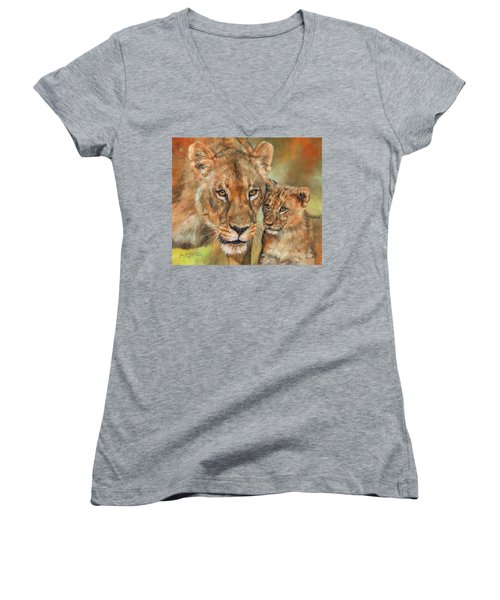 Women's V-Neck T-Shirt (Junior Cut) featuring the painting Lioness And Cub by David Stribbling