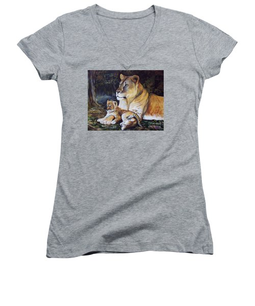 Lioness And Cub Women's V-Neck T-Shirt (Junior Cut) by Ruanna Sion Shadd a'Dann'l Yoder