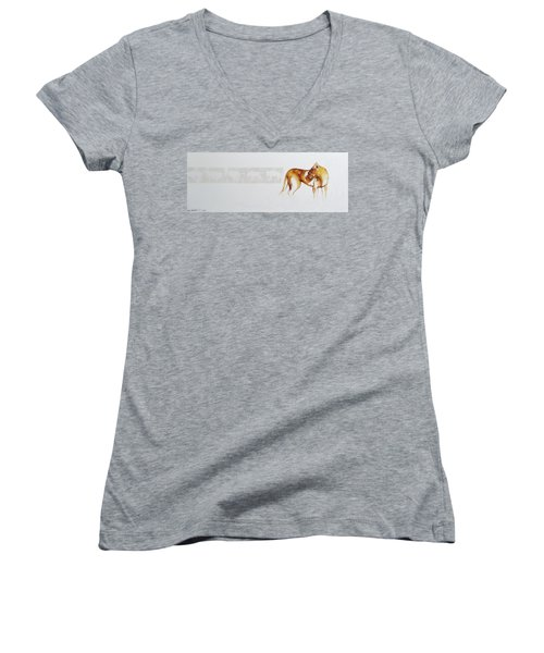 Lioness And Wildebeest Women's V-Neck