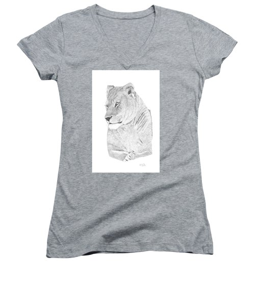 Women's V-Neck T-Shirt (Junior Cut) featuring the drawing Lioness by Patricia Hiltz