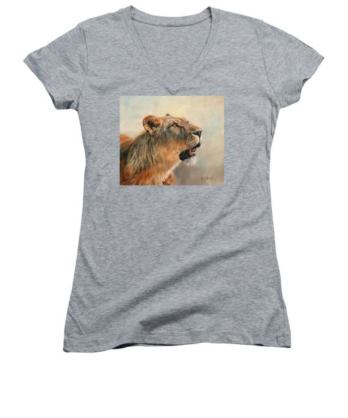 Women's V-Neck T-Shirt (Junior Cut) featuring the painting Lioness Portrait 2 by David Stribbling