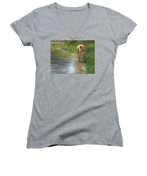 Lioness. Water's Edge Women's V-Neck T-Shirt (Junior Cut) by David Stribbling