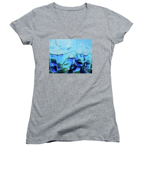 Women's V-Neck T-Shirt featuring the photograph Liquid Abstract  #0059 by Barbara Tristan