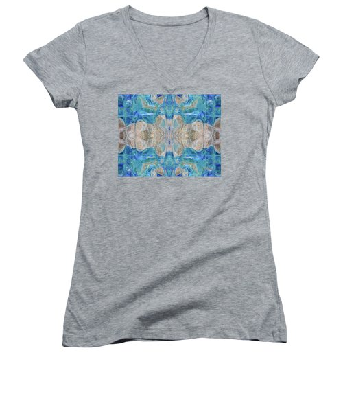 Women's V-Neck T-Shirt featuring the digital art Liquid Abstract  #0060-2 by Barbara Tristan