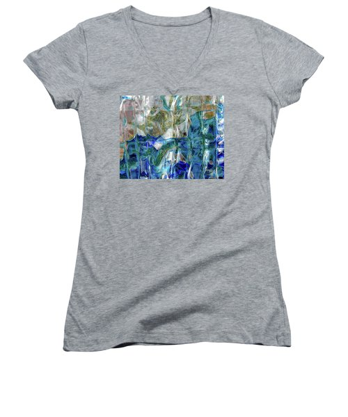 Women's V-Neck T-Shirt featuring the photograph Liquid Abstract #0061 by Barbara Tristan