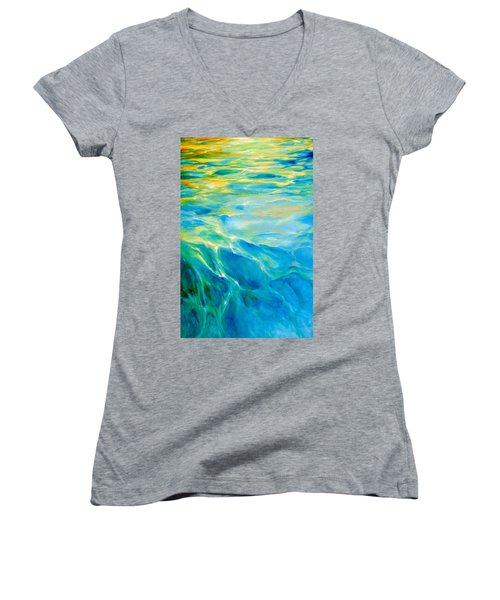 Women's V-Neck T-Shirt (Junior Cut) featuring the painting Liquid Gold by Dina Dargo