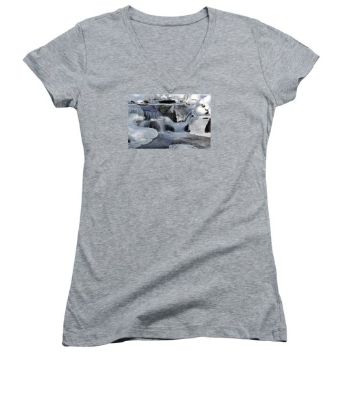 Women's V-Neck T-Shirt (Junior Cut) featuring the photograph Winter Waterfall In Maine by Glenn Gordon