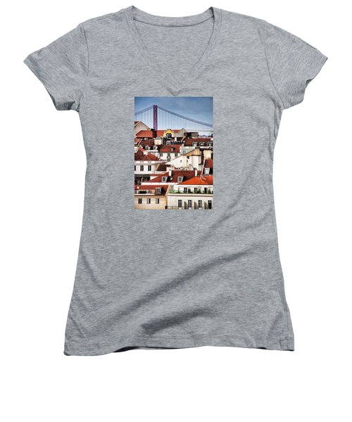 Lisbon Rooftops Women's V-Neck T-Shirt (Junior Cut) by Dennis Cox WorldViews