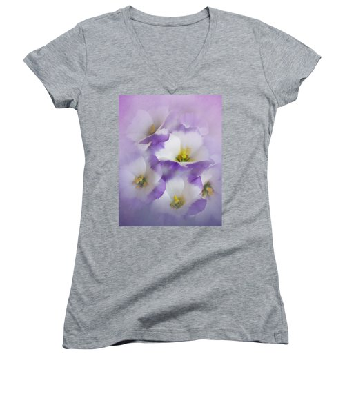 Women's V-Neck T-Shirt (Junior Cut) featuring the photograph Lisianthus Grouping by David and Carol Kelly