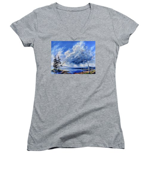 Women's V-Neck T-Shirt featuring the painting Listen To The Rhythm by Hanne Lore Koehler