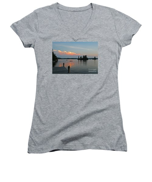 Little Bald Lake Women's V-Neck T-Shirt (Junior Cut) by Barbara McMahon