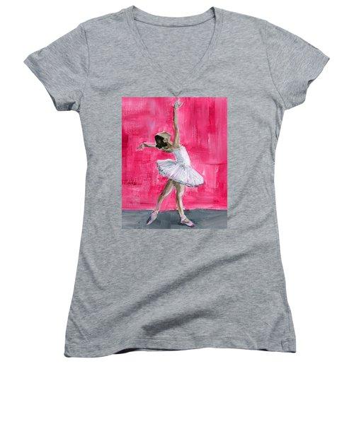Little Ballerina Women's V-Neck (Athletic Fit)