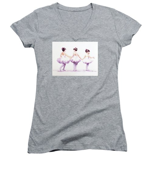 Little Ballerinas-3 Women's V-Neck