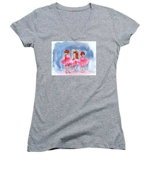 Little Ballerinas Women's V-Neck T-Shirt