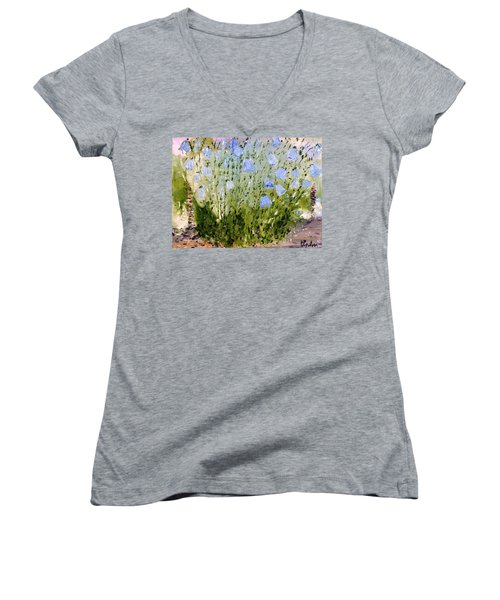Women's V-Neck T-Shirt (Junior Cut) featuring the painting Little Bells by Evelina Popilian