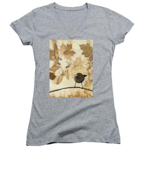 Little Bird On Silk With Leaves Women's V-Neck T-Shirt (Junior Cut) by Carolyn Doe