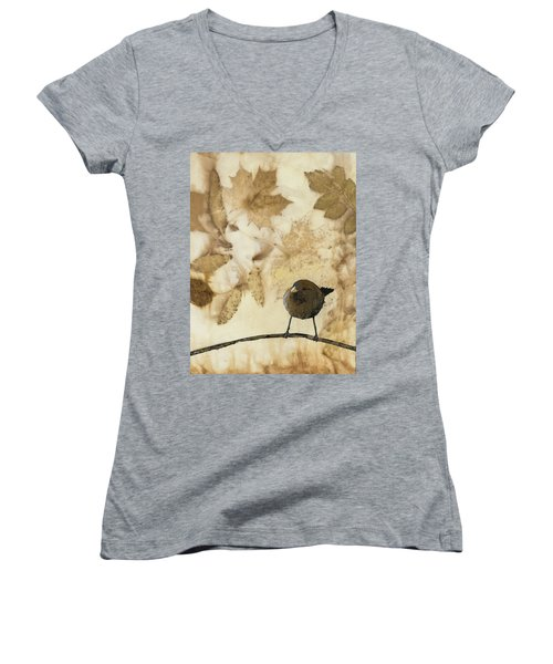Little Bird On Silk With Leaves Women's V-Neck T-Shirt