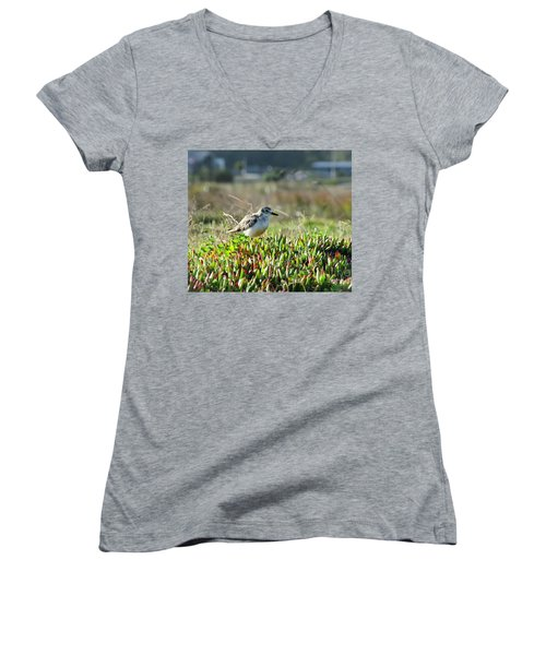 Women's V-Neck T-Shirt (Junior Cut) featuring the photograph Little Bird by Yurix Sardinelly