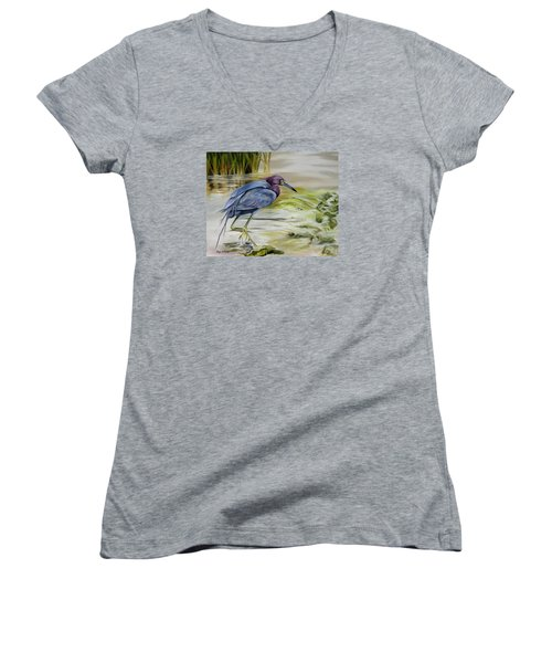 Women's V-Neck T-Shirt (Junior Cut) featuring the painting Little Blue Heron In The Bay by Phyllis Beiser