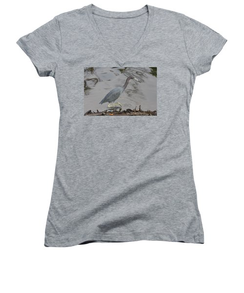 Women's V-Neck T-Shirt (Junior Cut) featuring the photograph Little Blue Heron Walking by Christiane Schulze Art And Photography