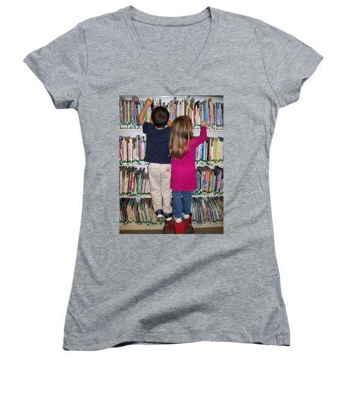 Women's V-Neck T-Shirt (Junior Cut) featuring the digital art Little Bookworms by Barbara S Nickerson
