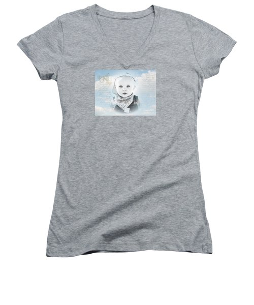 Little Boy Blue Women's V-Neck T-Shirt (Junior Cut) by Karen Lewis
