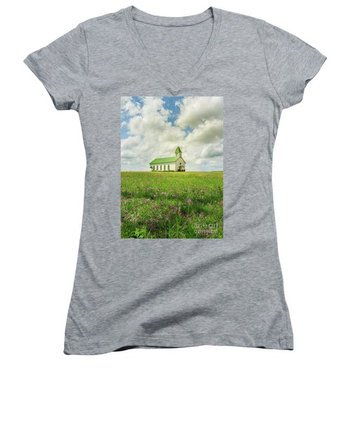 Women's V-Neck T-Shirt (Junior Cut) featuring the photograph Little Church On Hill Of Wildflowers by Robert Frederick