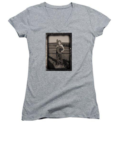 Little Cowgirl, Big Hat Women's V-Neck T-Shirt (Junior Cut) by Traci Goebel