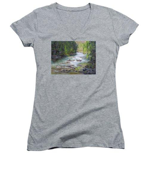 Little Creek Women's V-Neck T-Shirt (Junior Cut) by Karen Ilari