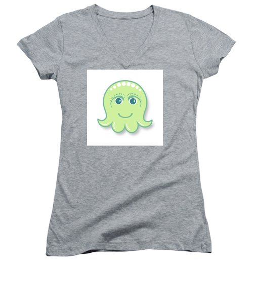 Little Cute Green Octopus Women's V-Neck (Athletic Fit)