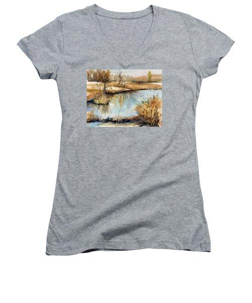 Little Dam Women's V-Neck T-Shirt (Junior Cut) by Judith Levins