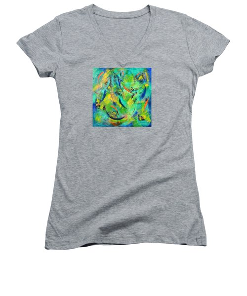 Women's V-Neck T-Shirt (Junior Cut) featuring the painting Little Fishes by Lyn Olsen
