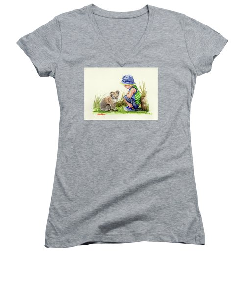 Women's V-Neck T-Shirt (Junior Cut) featuring the painting Little Friends Watercolor by Margaret Stockdale