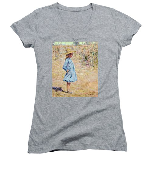 Little Girl With Blue Dress Women's V-Neck
