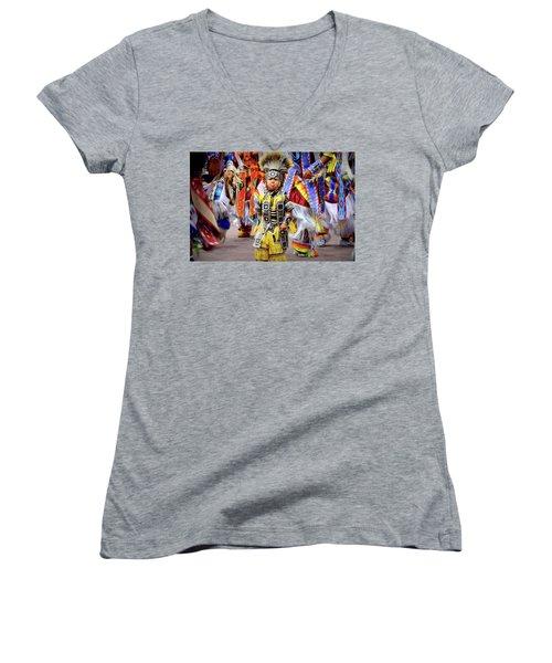 Women's V-Neck T-Shirt (Junior Cut) featuring the photograph Little Grass Dancer by Clarice Lakota