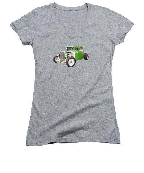 Little Green 32 Women's V-Neck T-Shirt (Junior Cut) by Keith Hawley