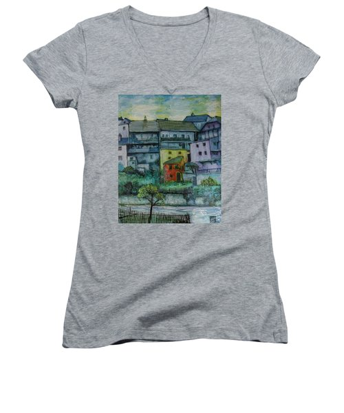 Women's V-Neck T-Shirt (Junior Cut) featuring the painting River Homes by Ron Richard Baviello