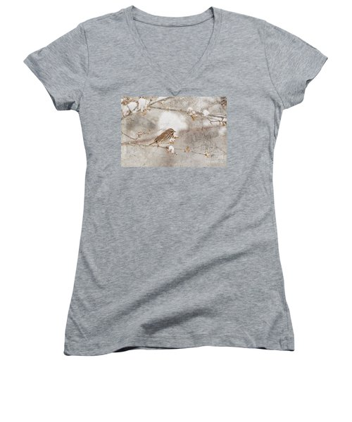 Women's V-Neck T-Shirt (Junior Cut) featuring the photograph Little House Sparrow by Lila Fisher-Wenzel