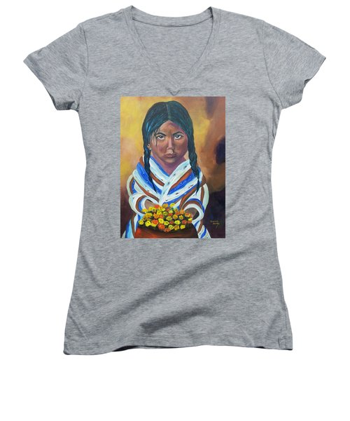 Little Indian Flower Girl Women's V-Neck T-Shirt
