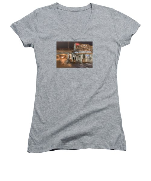 Women's V-Neck T-Shirt (Junior Cut) featuring the photograph Little Italy Rta by Brent Durken