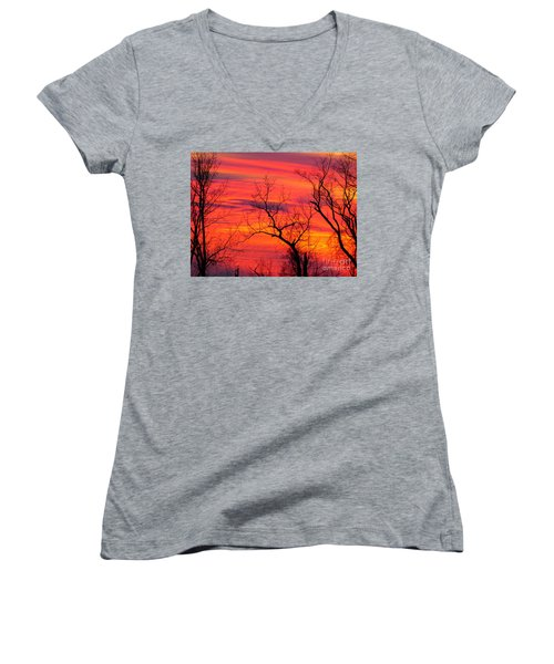 Little More Color At Sunset Women's V-Neck (Athletic Fit)