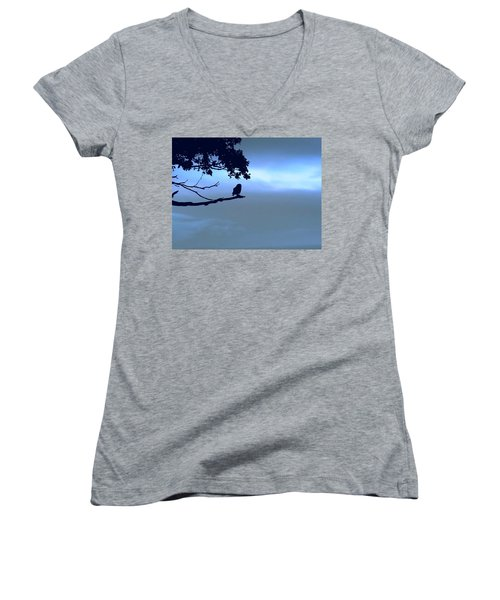 Little Owl Watching Women's V-Neck (Athletic Fit)